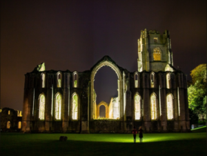 Fountains Abbey lit by Floodlight 2020